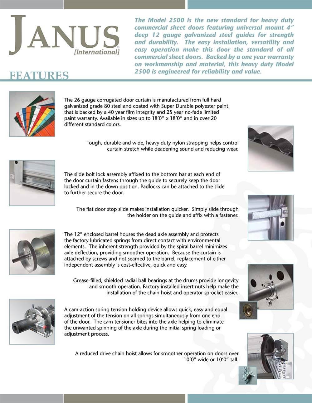 Janus Model 2500 2500i Heavy Duty Commercial Sheet Door
